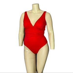 Joe Fresh Red Scalloped Edge Bathing Suit Size L